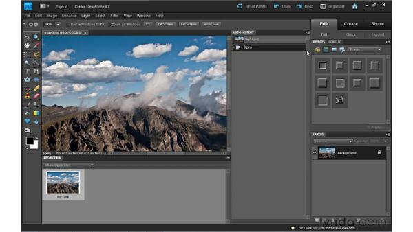 Arranging panels: Photoshop Elements 9 Essential Training