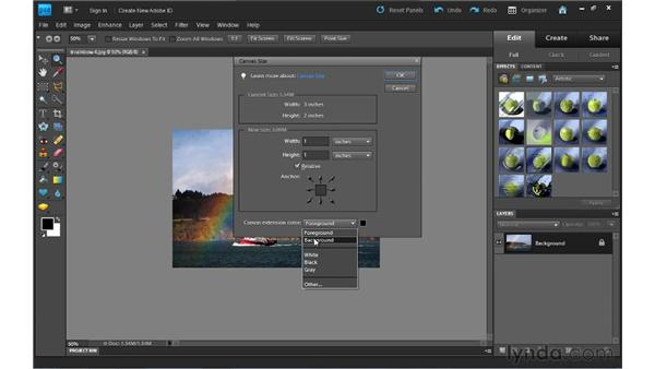 Enlarging the canvas: Photoshop Elements 9 Essential Training