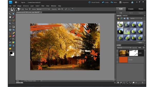 Using layer masks: Photoshop Elements 9 Essential Training