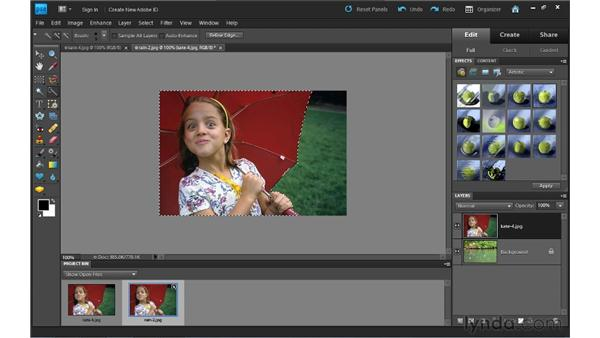 Using layer masks to combine images: Photoshop Elements 9 Essential Training