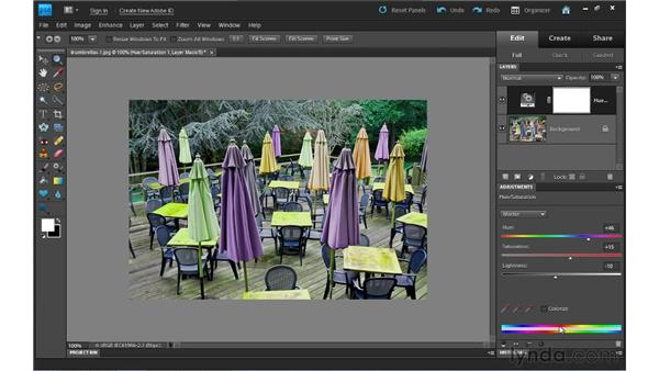 Adding a Hue/Saturation adjustment layer: Photoshop Elements 9 Essential Training