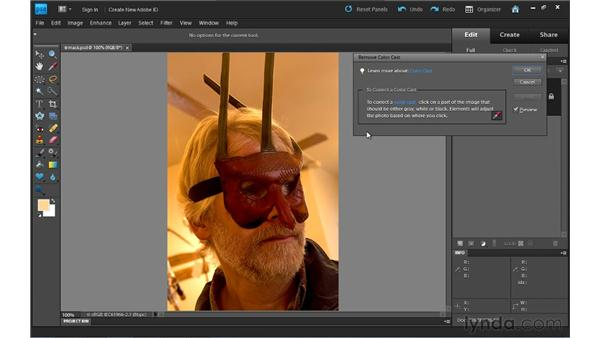 Removing a color cast: Photoshop Elements 9 Essential Training