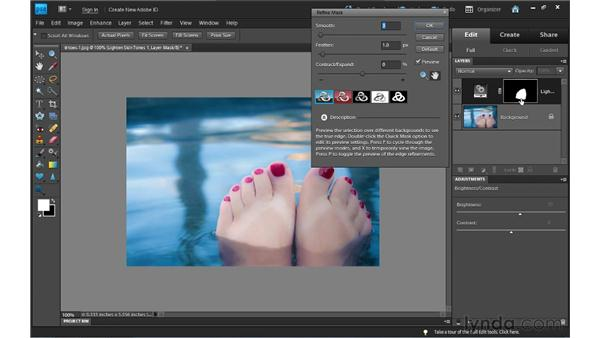 Using the Smart Brush tools: Photoshop Elements 9 Essential Training