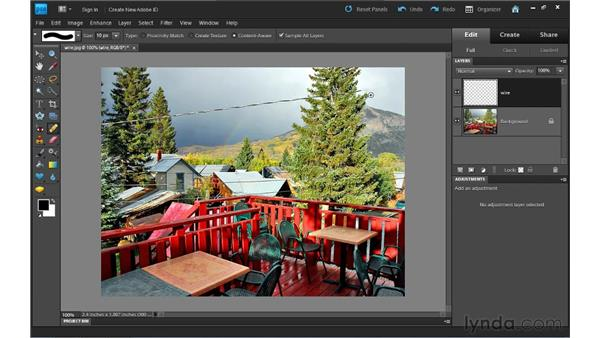 Content-aware healing: Photoshop Elements 9 Essential Training