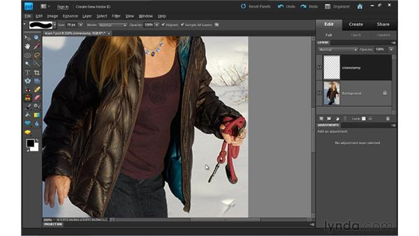 Removing content with the Clone Stamp tool: Photoshop Elements 9 Essential Training