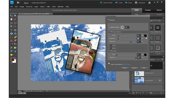 Using layer styles: Photoshop Elements 9 Essential Training