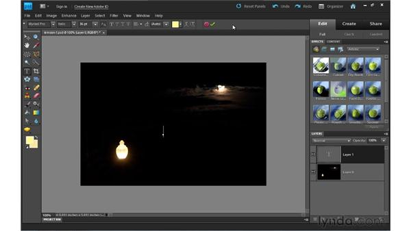 Creating text: Photoshop Elements 9 Essential Training