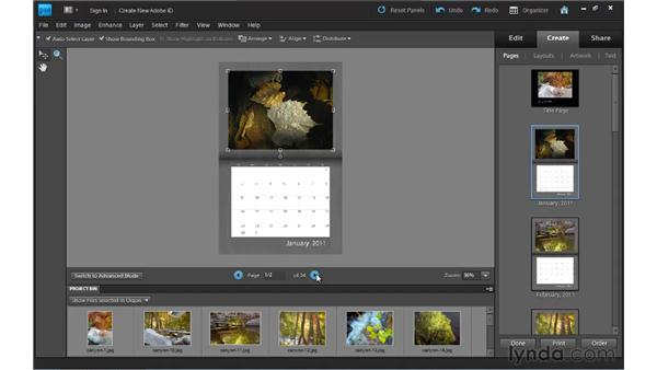 Creating photo calendars: Photoshop Elements 9 Essential Training