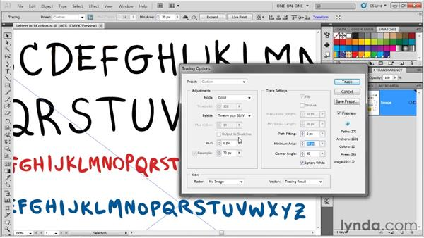 Tracing options: The vector functions: Illustrator CS5 One-on-One: Advanced