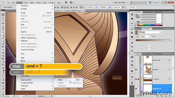Placing one mask inside another: Illustrator CS5 One-on-One: Advanced