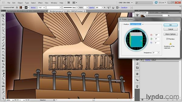 Rotating objects in 3D space: Illustrator CS5 One-on-One: Advanced