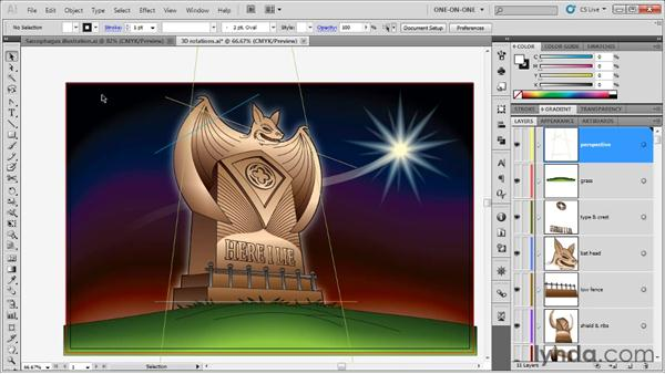 Creating custom perspective guides: Illustrator CS5 One-on-One: Advanced