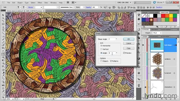 Transforming patterns without paths: Illustrator CS5 One-on-One: Advanced