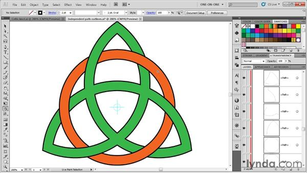 Weaving one object into another: Illustrator CS5 One-on-One: Advanced