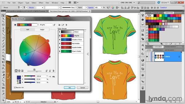 Swapping colors with the Color Bars feature: Illustrator CS5 One-on-One: Advanced