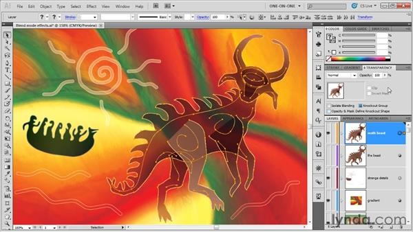 Creating a knockout group: Illustrator CS5 One-on-One: Advanced