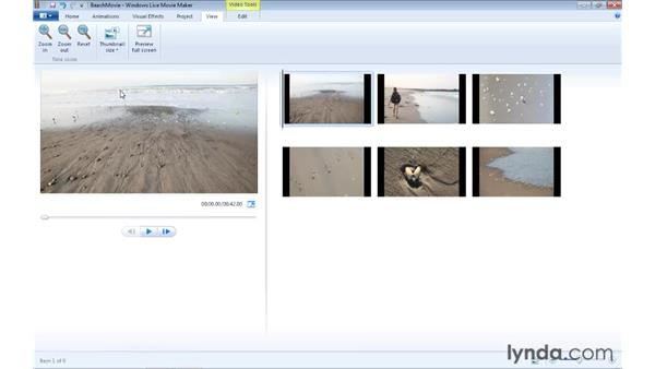 Adjusting the view: Windows Live Movie Maker Essential Training