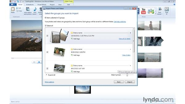 Importing photos from a camera: Windows Live Movie Maker Essential Training