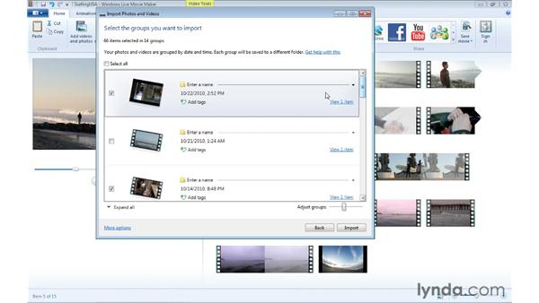 Importing video from a camcorder: Windows Live Movie Maker Essential Training