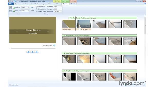 Adjusting music options: Windows Live Movie Maker Essential Training