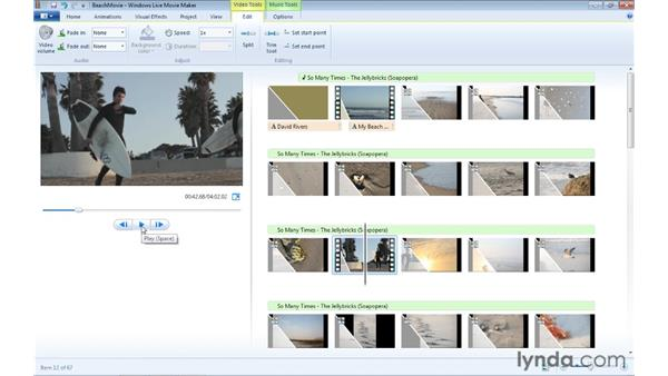 Trimming and splitting video clips: Windows Live Movie Maker Essential Training