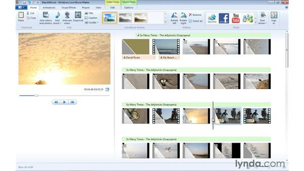 Creating a snapshot from existing video: Windows Live Movie Maker Essential Training