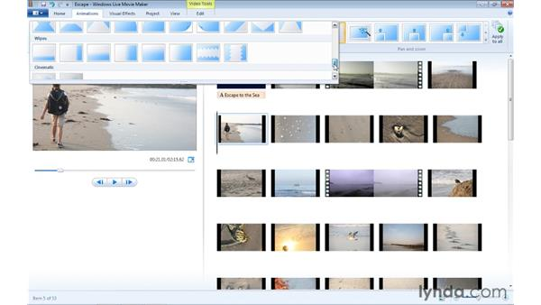 Creating transitions between clips: Windows Live Movie Maker Essential Training