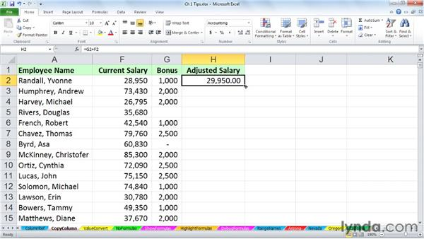 Copying column formulas instantly: Excel 2010: Advanced Formulas and Functions