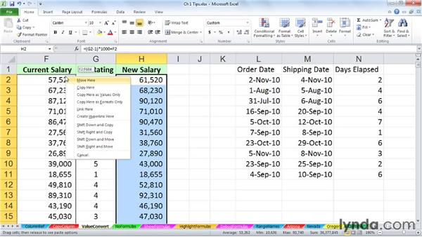 Converting formulas to values with a simple drag: Excel 2010: Advanced Formulas and Functions
