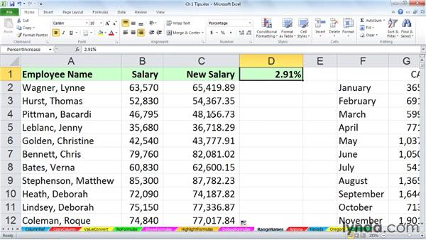 Enhancing readability with range names: Excel 2010: Advanced Formulas and Functions