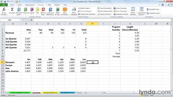 Using and extending AutoSum: Excel 2010: Advanced Formulas and Functions