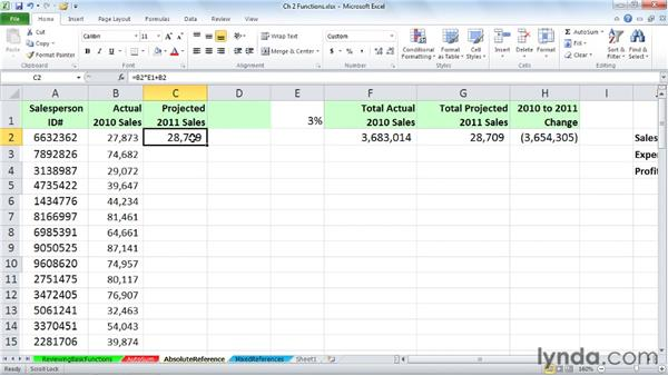 Using absolute and relative references: Excel 2010: Advanced Formulas and Functions