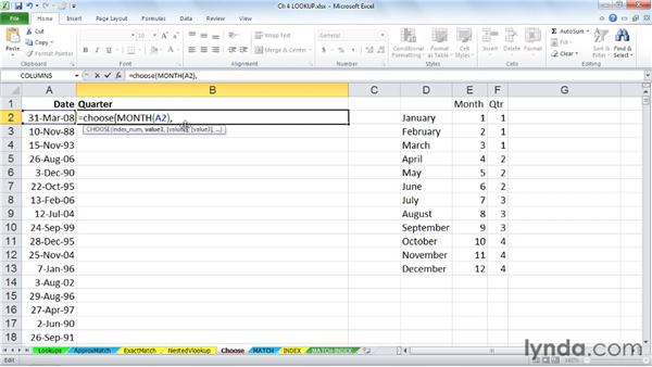Finding table-like information within a function with CHOOSE: Excel 2010: Advanced Formulas and Functions