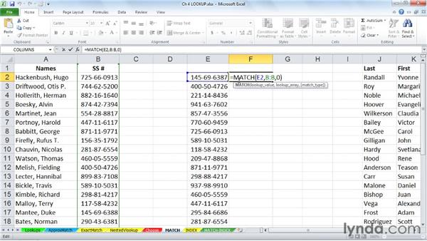 Locating data with MATCH: Excel 2010: Advanced Formulas and Functions