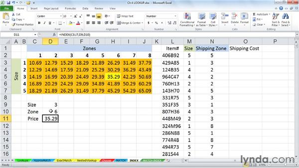 Retrieving information by location with INDEX: Excel 2010: Advanced Formulas and Functions