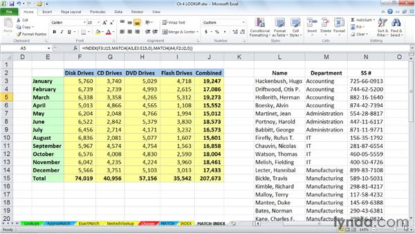 Using MATCH and INDEX together: Excel 2010: Advanced Formulas and Functions