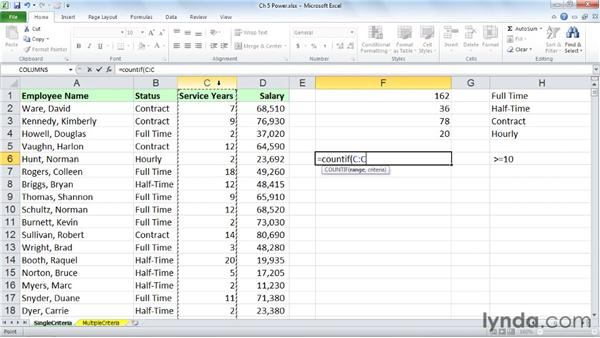 Tabulating information on a single criterion with COUNTIF, SUMIF, and AVERAGEIF: Excel 2010: Advanced Formulas and Functions