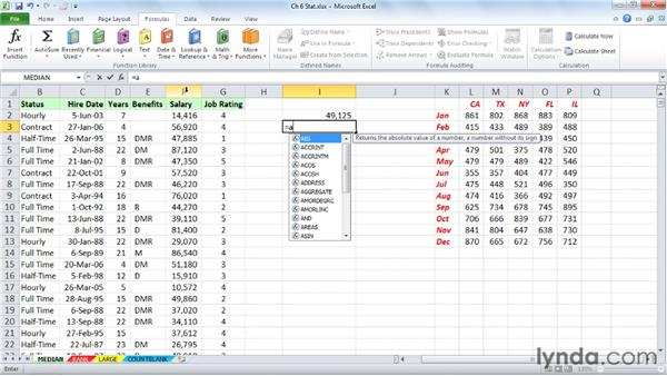 Finding the middle value with MEDIAN: Excel 2010: Advanced Formulas and Functions