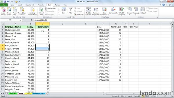 Ranking data without sorting with RANK: Excel 2010: Advanced Formulas and Functions