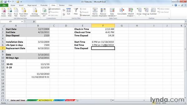 Understanding Excel date/time capabilities in formulas: Excel 2010: Advanced Formulas and Functions