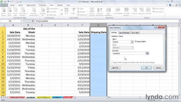 Identifying the day of the week with WEEKDAY: Excel 2010: Advanced Formulas and Functions