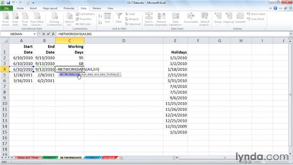Counting working days with NETWORKDAYS: Excel 2010: Advanced Formulas and Functions