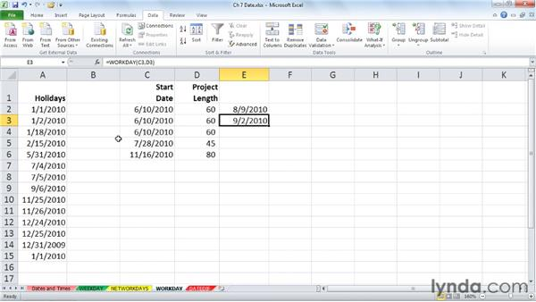 Determining a completion date with WORKDAY: Excel 2010: Advanced Formulas and Functions