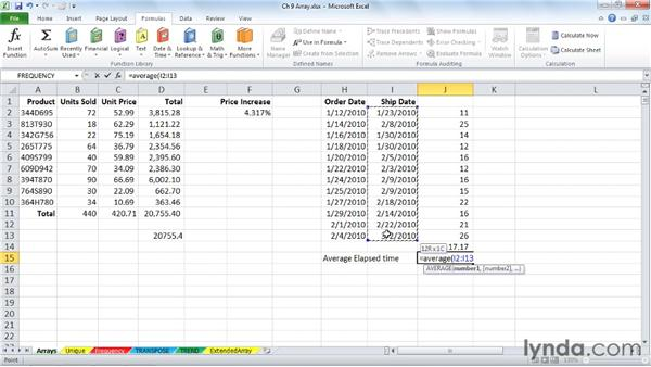 Extending formula capabilities with arrays: Excel 2010: Advanced Formulas and Functions