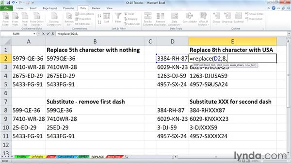 Adjusting character content with REPLACE and SUBSTITUTE: Excel 2010: Advanced Formulas and Functions