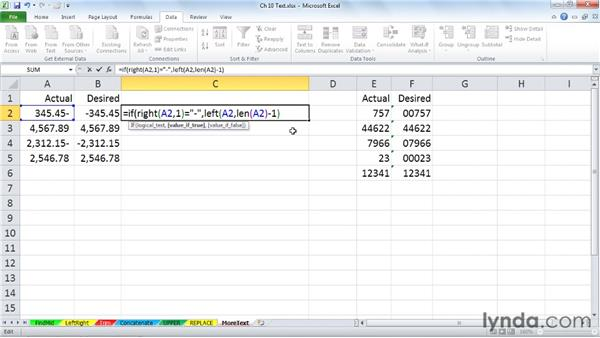 Reviewing additional text functions: Excel 2010: Advanced Formulas and Functions