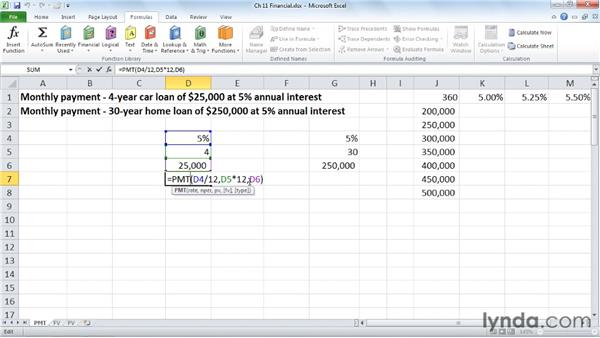 Calculating payments with PMT: Excel 2010: Advanced Formulas and Functions
