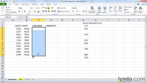 Working with the IS information functions: Excel 2010: Advanced Formulas and Functions