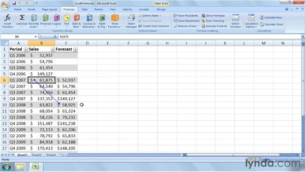 Auditing formulas step by step: Excel 2007: Business Statistics