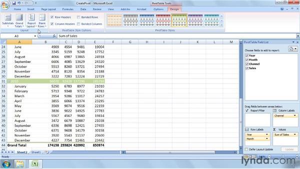 Summarizing data using a PivotTable: Excel 2007: Business Statistics